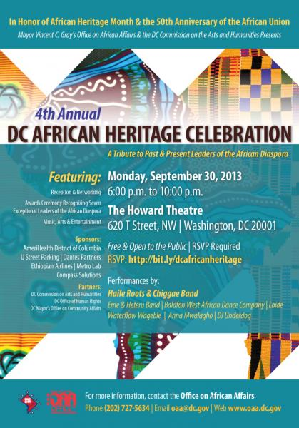 DC African Heritage Celebration flyer